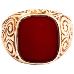 Antique Carnelian and 9 Carat Gold Signet Ring