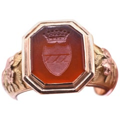 Antique Carnelian and Gold Repousse Signet Ring