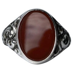 Antique Carnelian and Silver Signet Ring