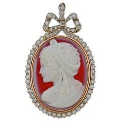 Antique Carnelian Diamond Cameo Gold Pendant