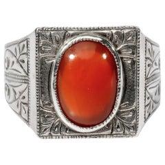 Antique Carnelian Ring Tudor Style