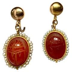 Antique Carnelian Scarab Earrings Egyptian Revival Gold Pearl