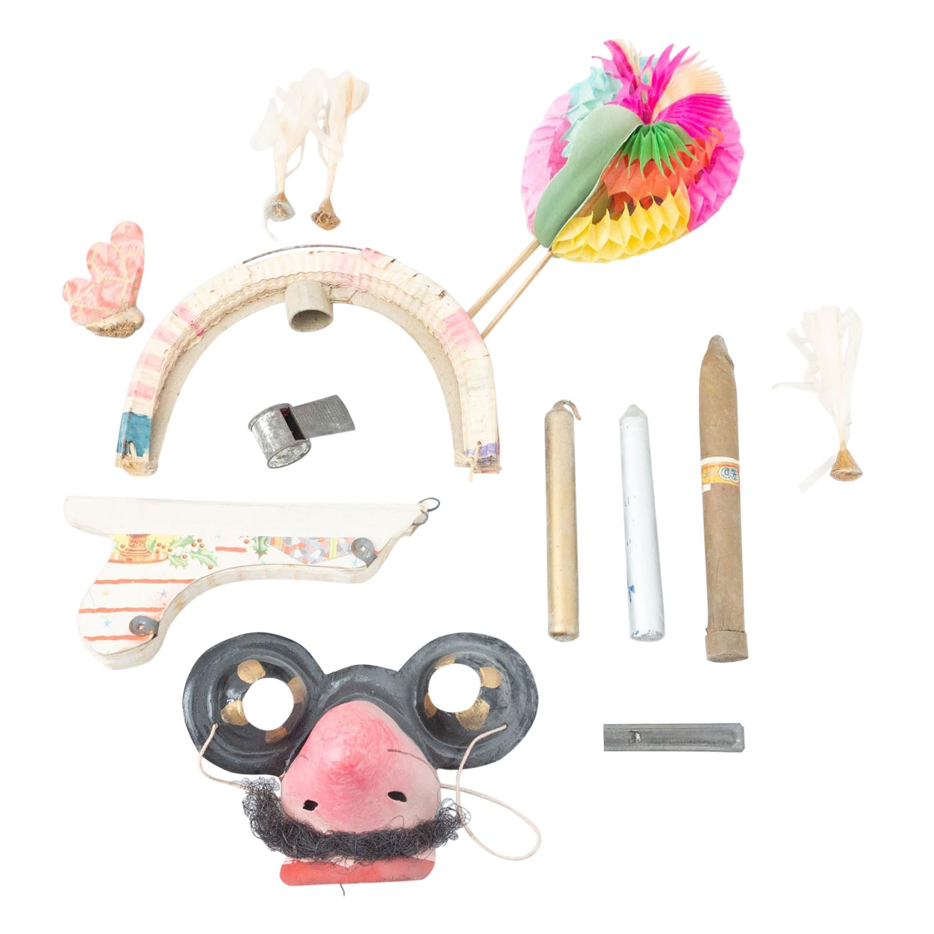 Antique Carnival Party Box with Original Objects, circa 1940