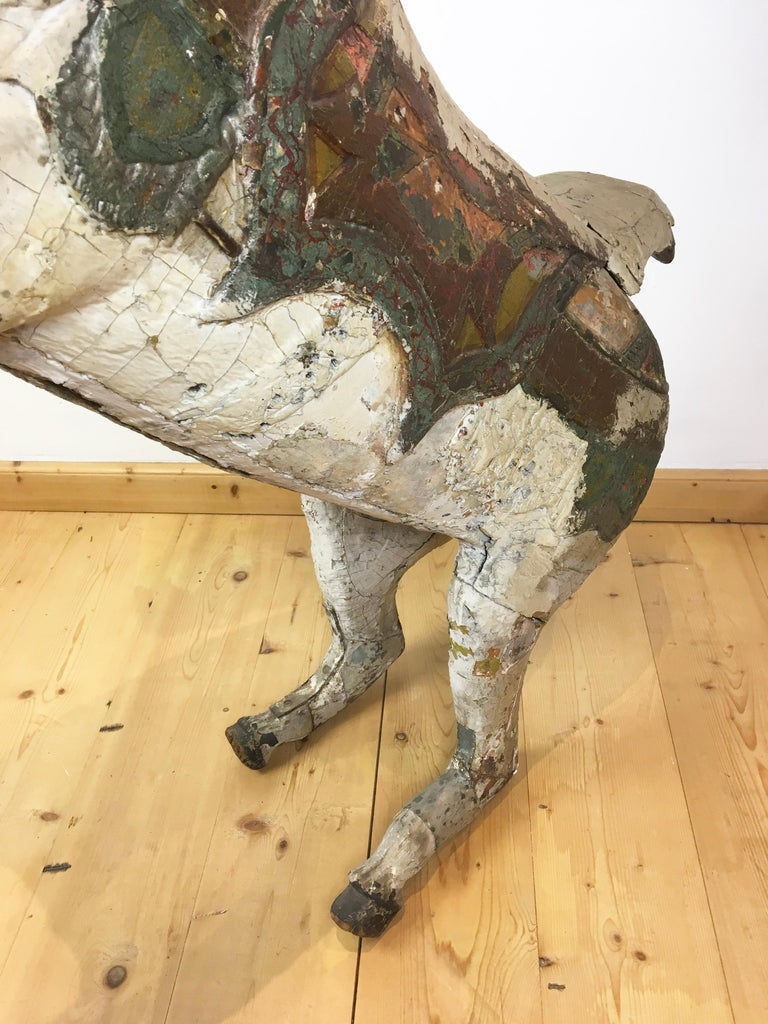 Antique Carousel Horse by Karl Müller Germany, Hand-Carved wood, Late 19th Cent For Sale 11
