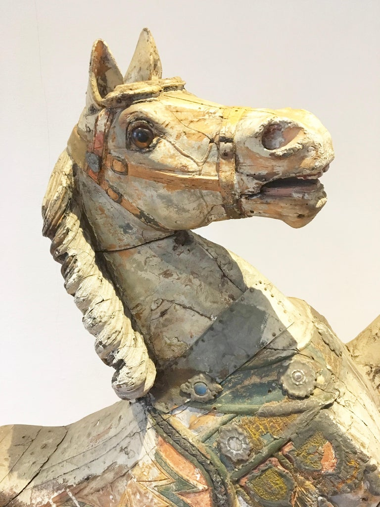 Antique Carousel Horse by Karl Müller Germany, Hand-Carved wood, Late 19th Cent For Sale 13