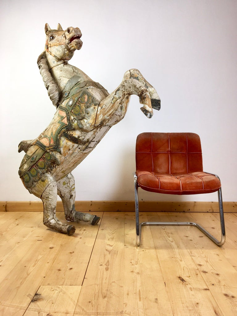Spectacular large Hand -Carved Wooden Carousel Horse  made by the Sculptor Karl Müller, Moblitz Germany. This Hand-painted Horse dates circa 1886-1902,  late 19th century-early 20th century.  More than 100 years old !!! So has a great worn patina of