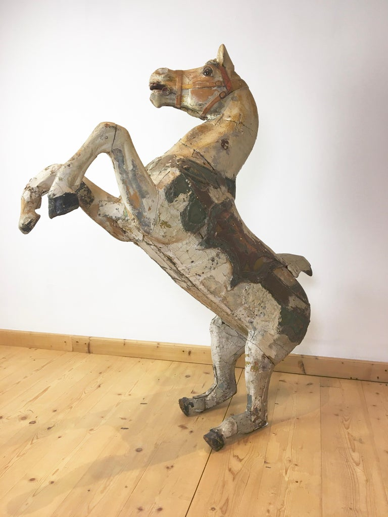 Antique Carousel Horse by Karl Müller Germany, Hand-Carved wood, Late 19th Cent For Sale 14