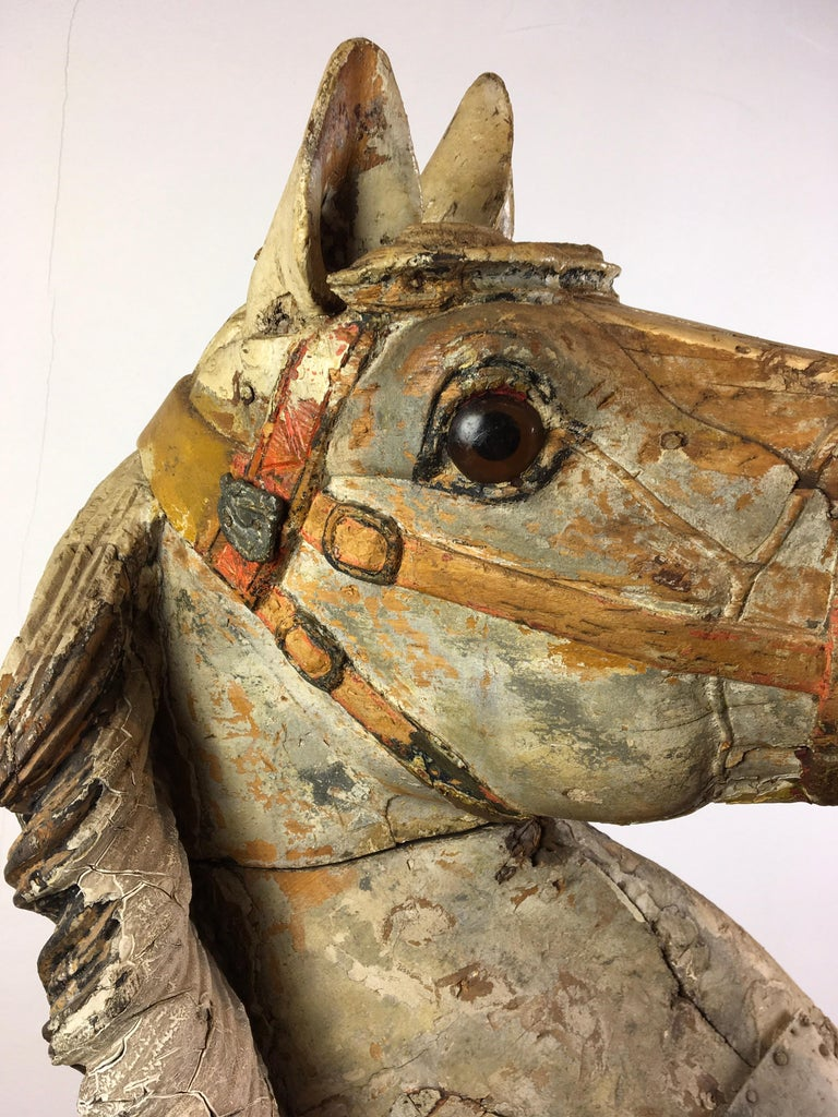 Arts and Crafts Antique Carousel Horse by Karl Müller Germany, Hand-Carved wood, Late 19th Cent For Sale