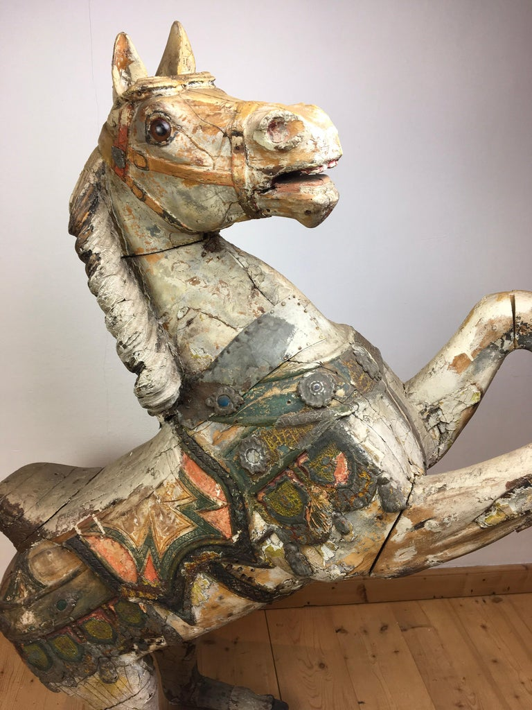 Antique Carousel Horse by Karl Müller Germany, Hand-Carved wood, Late 19th Cent In Good Condition For Sale In Antwerp, BE