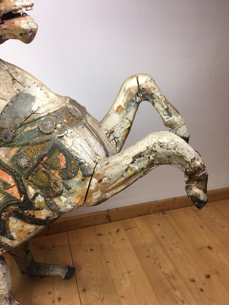 19th Century Antique Carousel Horse by Karl Müller Germany, Hand-Carved wood, Late 19th Cent For Sale