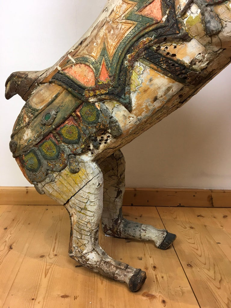 Wood Antique Carousel Horse by Karl Müller Germany, Hand-Carved wood, Late 19th Cent For Sale