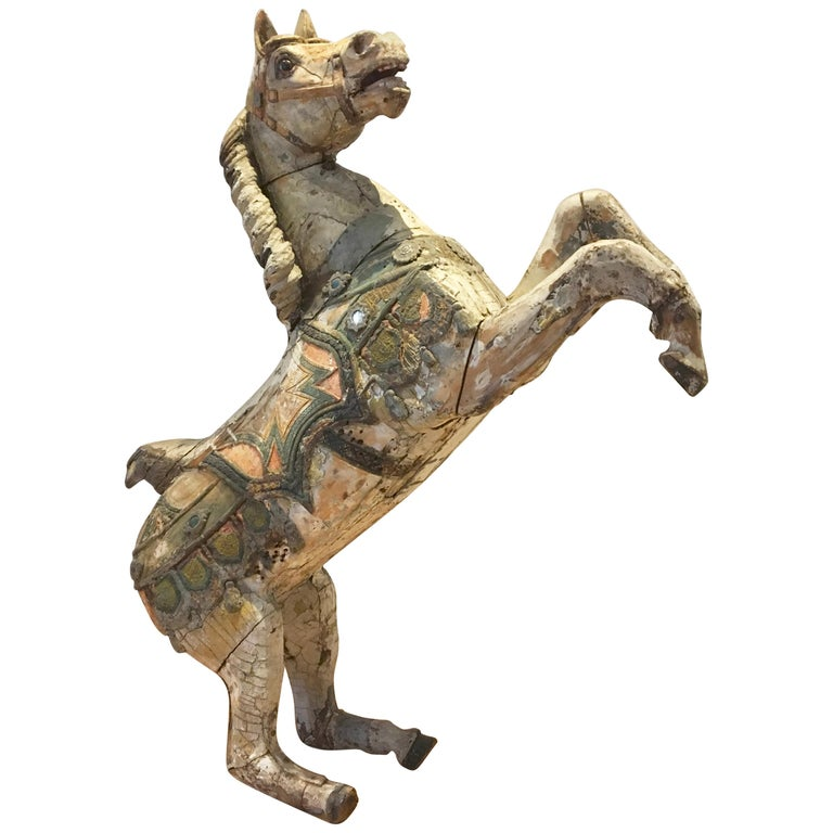 Antique Carousel Horse by Karl Müller Germany, Hand-Carved wood, Late 19th Cent For Sale