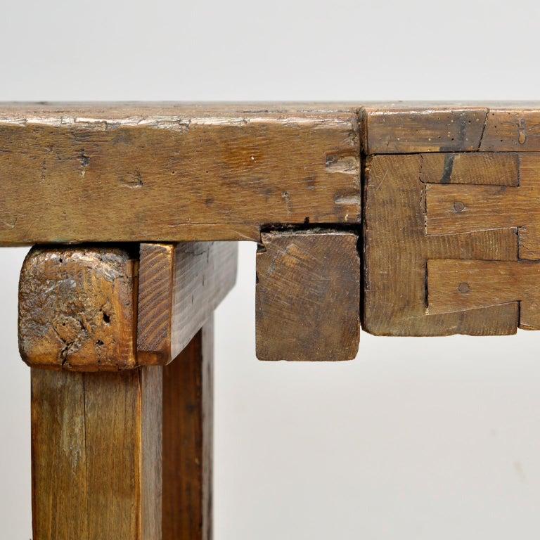 Antique Carpenters Oak Workbench, Circa 1910 For Sale 4