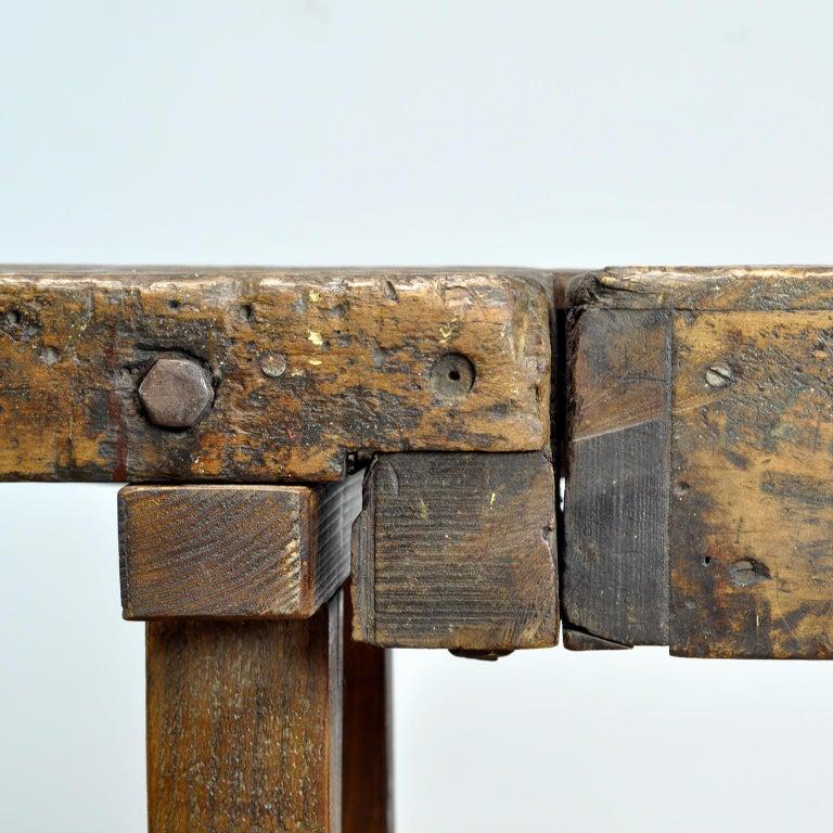 Antique Carpenters Oak Workbench, circa 1910 For Sale 6