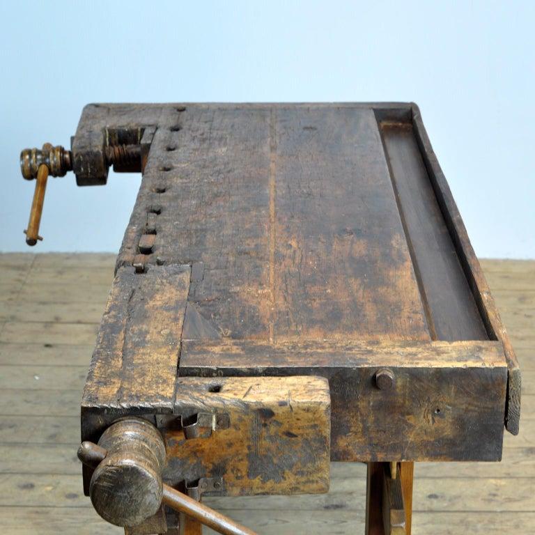 Antique Carpenters Oak Workbench, circa 1910 For Sale 8