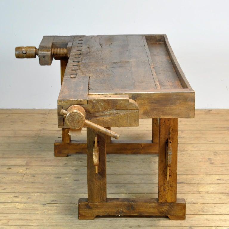 Industrial Antique Carpenters Oak Workbench, Circa 1910 For Sale