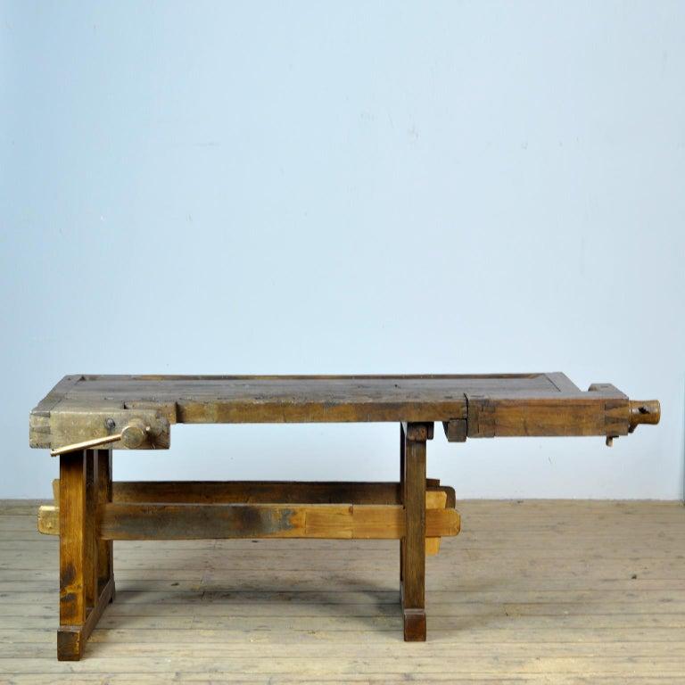 German Antique Carpenters Oak Workbench, Circa 1910 For Sale