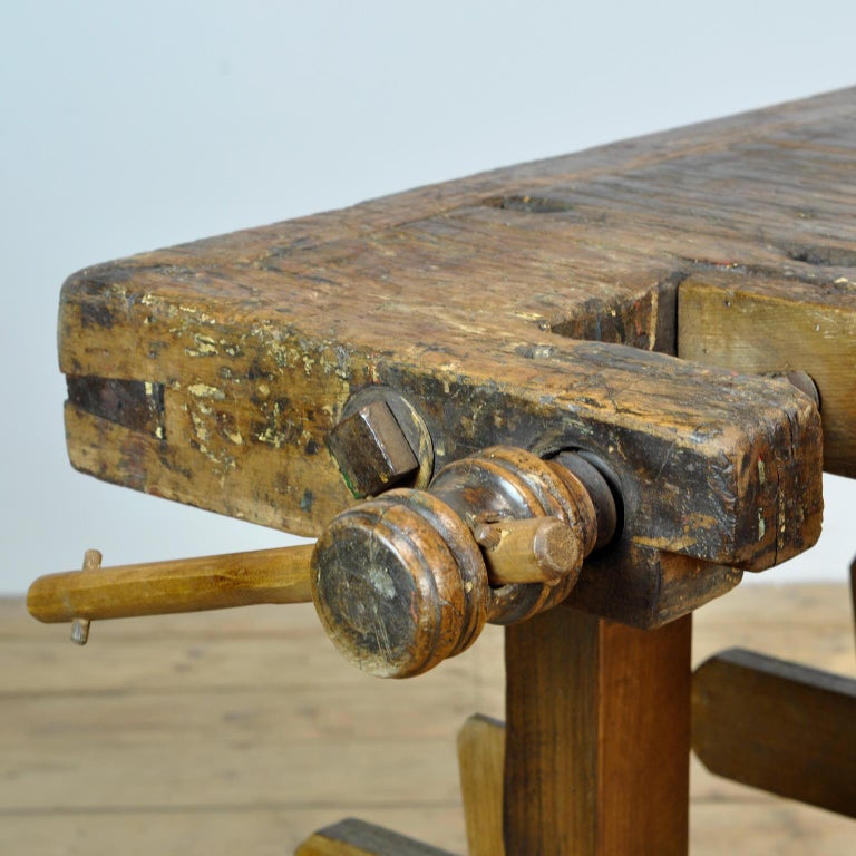 Early 20th Century Antique Carpenters Oak Workbench, circa 1910 For Sale