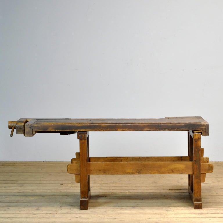 20th Century Antique Carpenters Oak Workbench, Circa 1910 For Sale