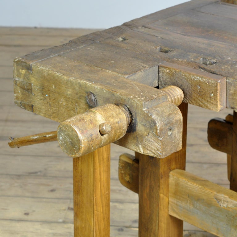 Antique Carpenters Oak Workbench, Circa 1910 For Sale 1