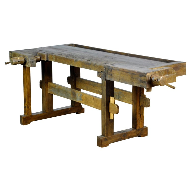 Antique Carpenters Oak Workbench, Circa 1910 For Sale