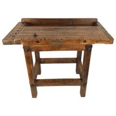 Antique Carpenters Wooden Work Table Industrial Bradford Machine Tool Co. Ohio.