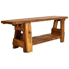 Antique Carpenter's Work Bench Work Table, France