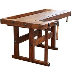 Antique Carpenter's Workbench, Solid Wood, German