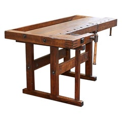 Antique Carpenter's Workbench, Solid Wood, German