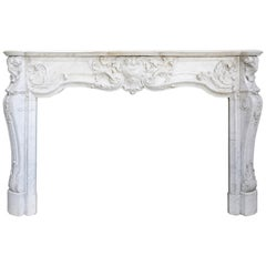 Antique Carrara Marble Fireplace, 19th Century, Louis XV