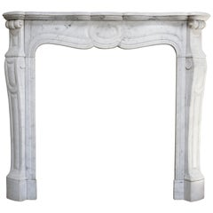 20th Century Carrara Marble Pompadour Fireplace