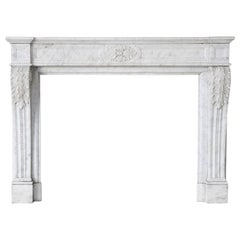 Antique Carrara Marble Fireplace, Louis XVI, 19th Century