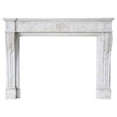 Antiker Carrara Marmor Kamin, Louis XVI, 19. Jahrhundert