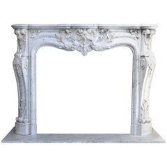 Antique Carrara Marble Mantel Piece in Style of Louis XV