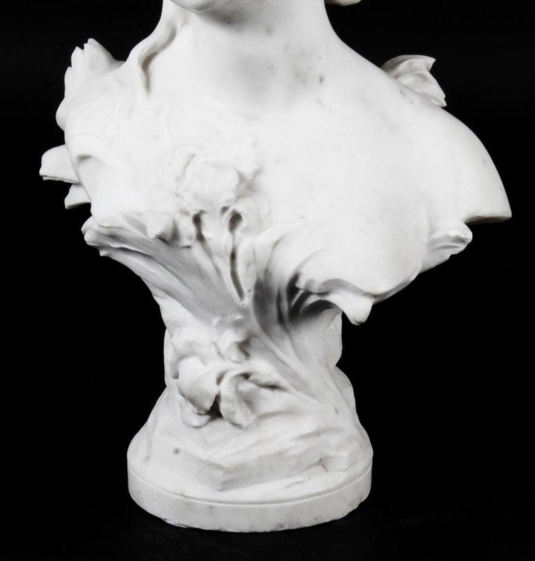 Antique Carrara Marble Portrait Bust by Auguste Moreau, 19th Century For Sale 5