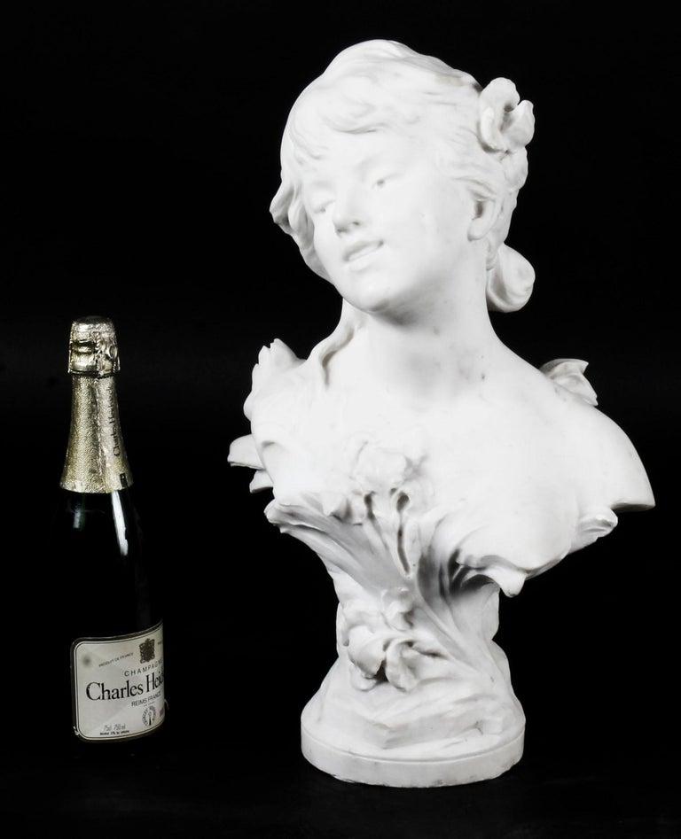 Antique Carrara Marble Portrait Bust by Auguste Moreau, 19th Century For Sale 7