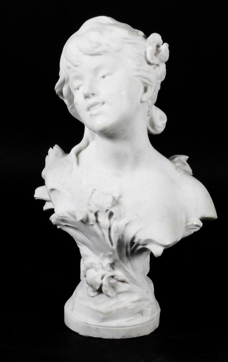 Antique Carrara Marble Portrait Bust by Auguste Moreau, 19th Century For Sale 8
