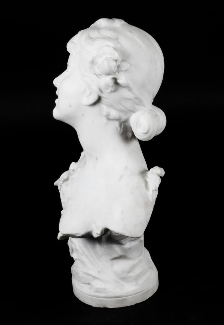 French Antique Carrara Marble Portrait Bust by Auguste Moreau, 19th Century For Sale