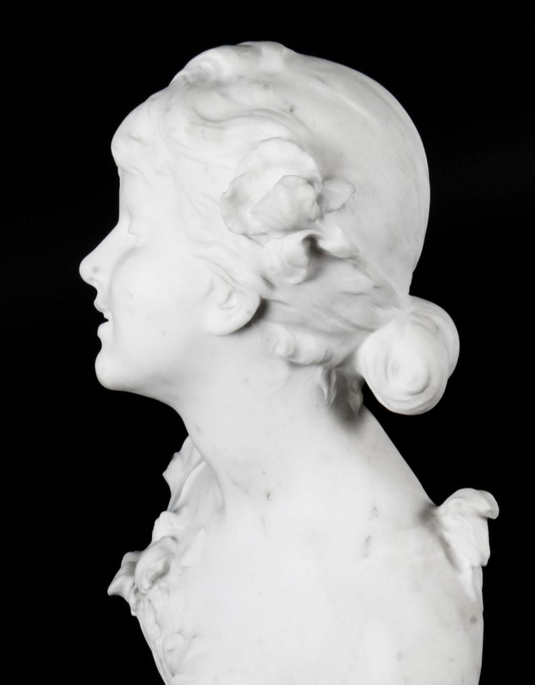 Antique Carrara Marble Portrait Bust by Auguste Moreau, 19th Century In Good Condition For Sale In London, GB