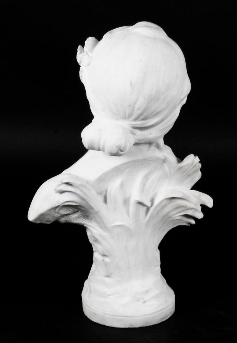 Late 19th Century Antique Carrara Marble Portrait Bust by Auguste Moreau, 19th Century For Sale