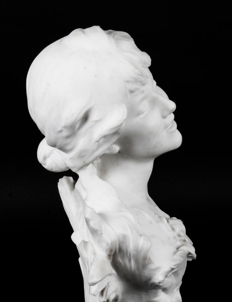 Antique Carrara Marble Portrait Bust by Auguste Moreau, 19th Century For Sale 2