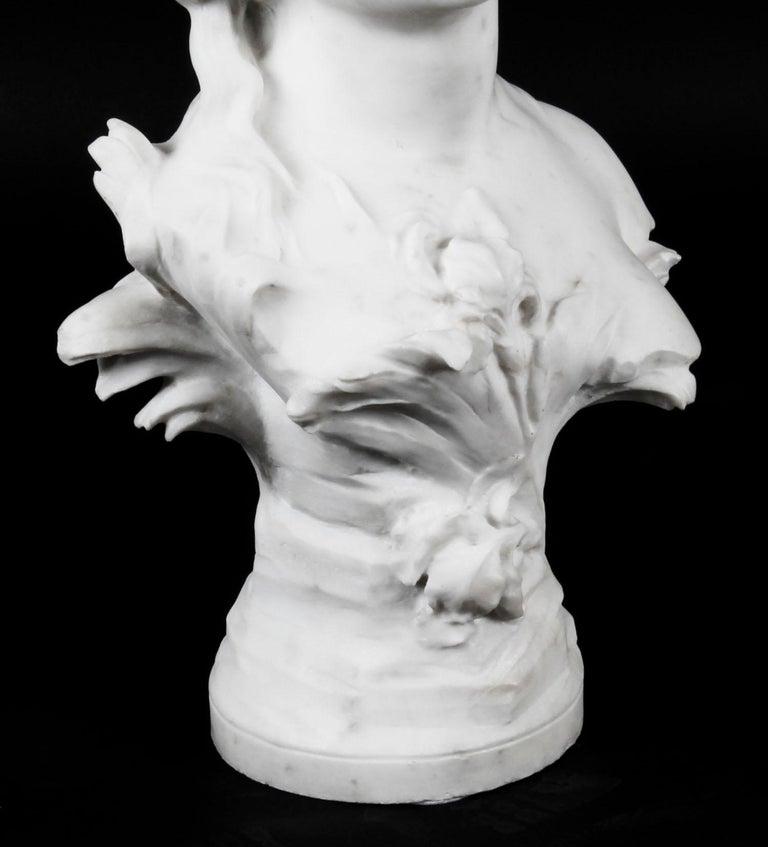 Antique Carrara Marble Portrait Bust by Auguste Moreau, 19th Century For Sale 4