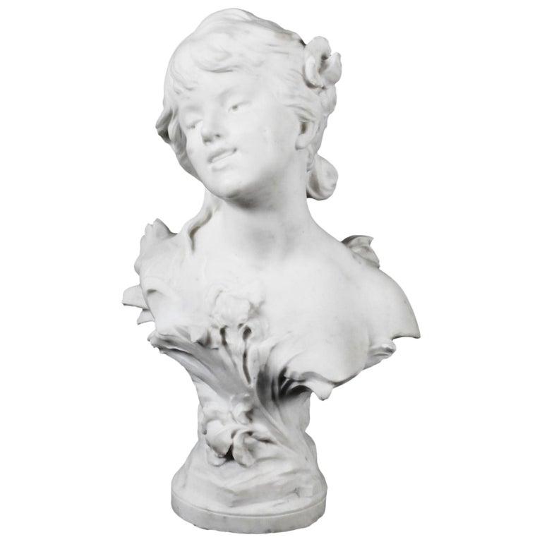 Antique Carrara Marble Portrait Bust by Auguste Moreau, 19th Century For Sale
