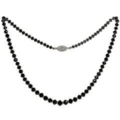 Antique Cartier Platinum Clasp Black Diamond Beads Rondelle-Cut Diamond Necklace