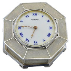 Antique Cartier Sterling and Enamel Petite Clock