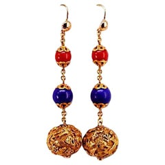 Antique Carved 18 Karat Gold Bead, Coral and Lapis Drop Earrings