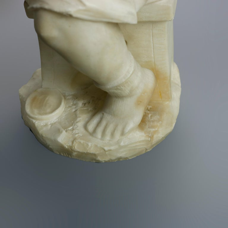 Antique Carved Alabaster Sculpture of Young Girl by Adolpho Cipriani, c1890 For Sale 6
