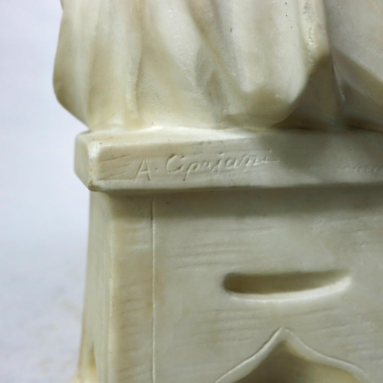 Antique Carved Alabaster Sculpture of Young Girl by Adolpho Cipriani, c1890 For Sale 7