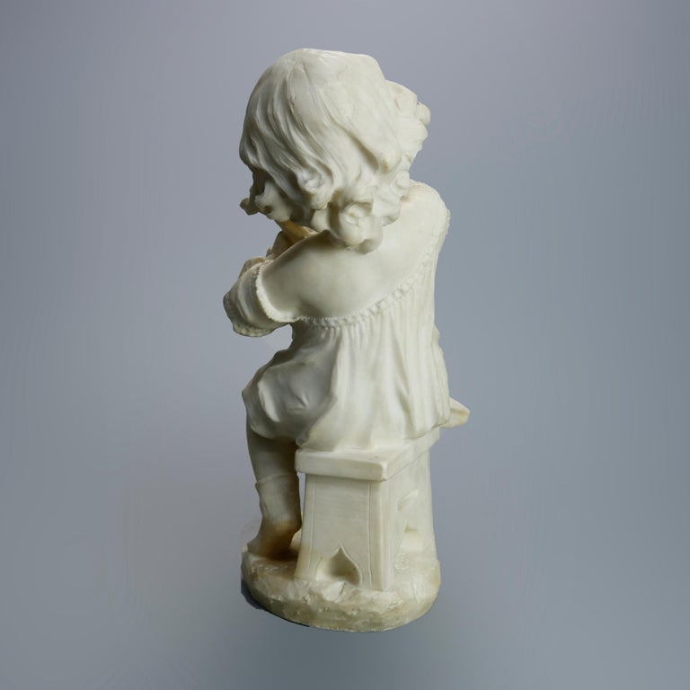 Antique Carved Alabaster Sculpture of Young Girl by Adolpho Cipriani, c1890 For Sale 8