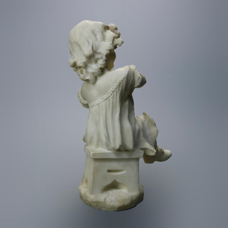 Antique Carved Alabaster Sculpture of Young Girl by Adolpho Cipriani, c1890 For Sale 9